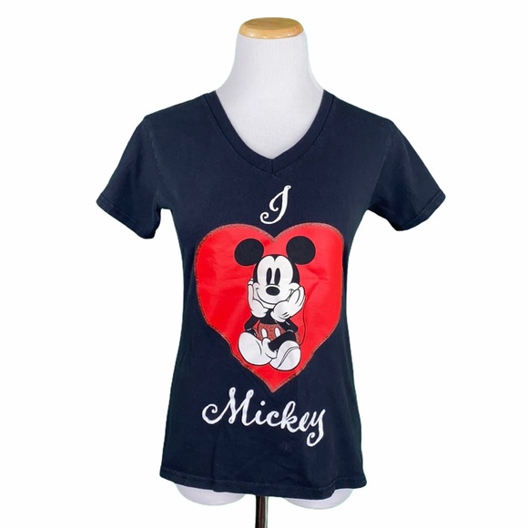 Disney I Love Mickey Black V-Neck Graphic Tee